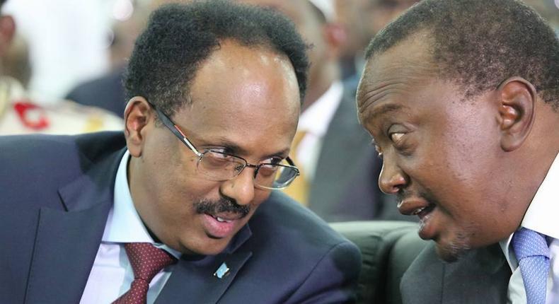 Kenyan President Uhuru Kenyatta together with Somalia President Mohamed Abdulahi Farmajo at a past  event.