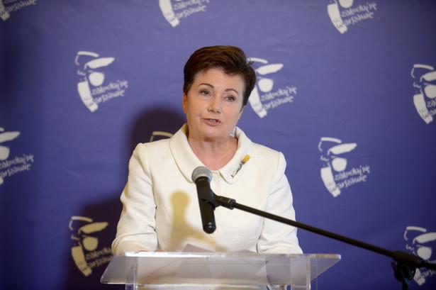 Prezydent Warszawy Hanna Gronkiewicz-Waltz, podczas konferencji prasowej.