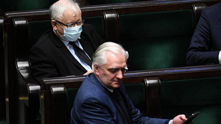 Jarosław Kaczyński i Jarosław Gowin w Sejmie. Maj 2020 roku