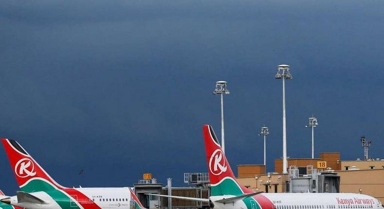 A Kenya Airways plane at JKIA.