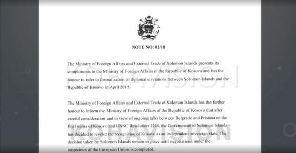 Diplomatska nota Solomonskih ostrva