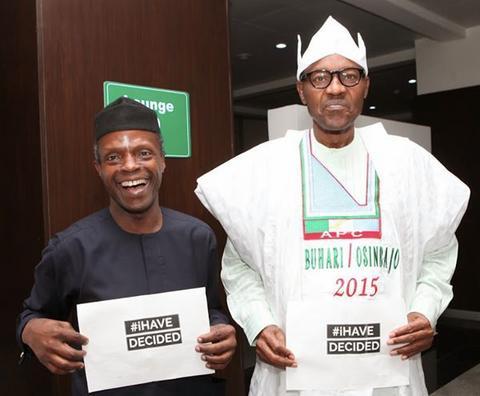 Nigeria's President, Muhammadu Buhari (right) and Vice President Yemi Osinbajo.