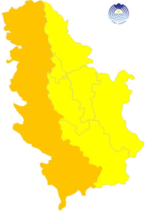 Na čitavoj zapadnoj Srbiji vlada narandžasti meteoalarm