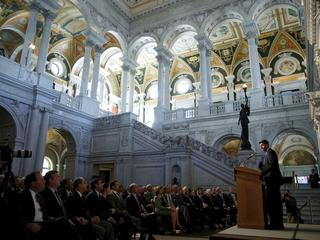 U.S. House Speaker Paul Ryan (R-WI) delivers a policy address from the Great Hall at the Library of