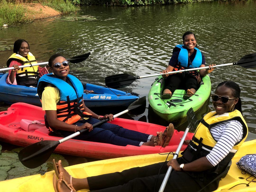 Chinonso and her friends kayaking