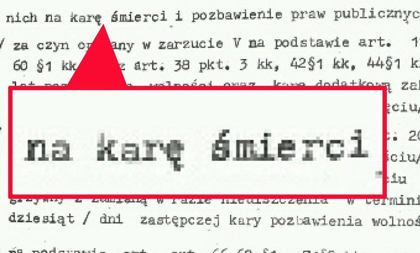 Oto wyrok śmierci na Trynkiewicza