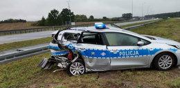 Groźny karambol pod Kutnem. Policjant ledwo uszedł z życiem