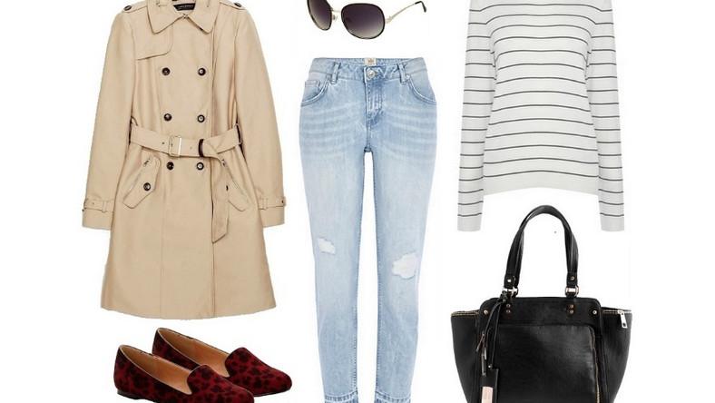 Beżowy trencz można w końcu założyć do wszystkiego. Mogą to być zwykłe jeansy i cienki sweterek. Jeśli dobierzemy do tego zestawienia wygodne buty oraz dużą torbę na ramię, otrzymamy niezobowiązujący miejski look. W słoneczne dni warto dopełnić go okularami!
