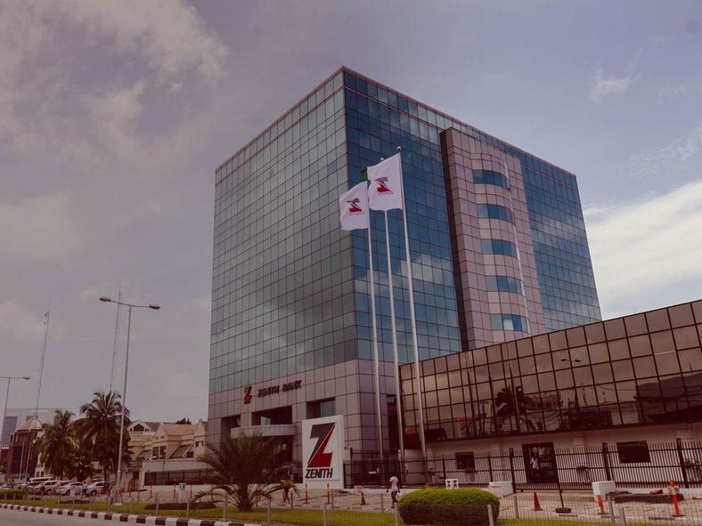 Zenith Bank building along Ajose Adeogun road, Lagos