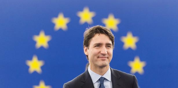 Premier Kanady Justin Trudeau w Parlamencie Europejskim.