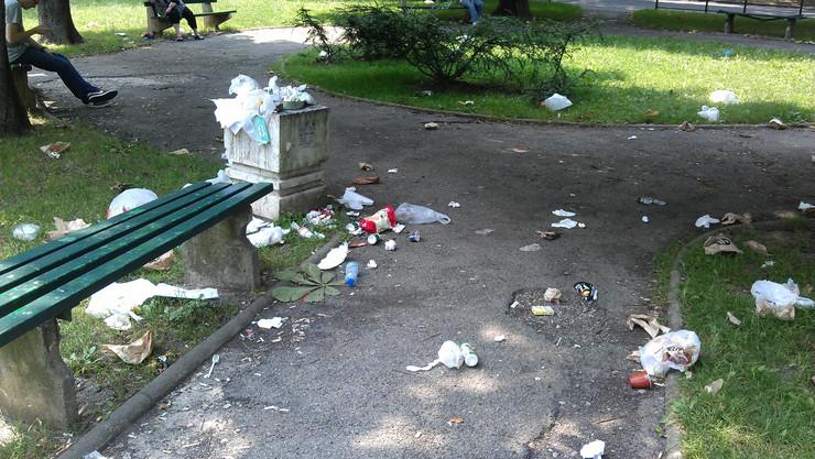 Razbacani otpaci u Ulici Jove Ilića, u kojoj se nalaze dečje igralište i dva fakulteta