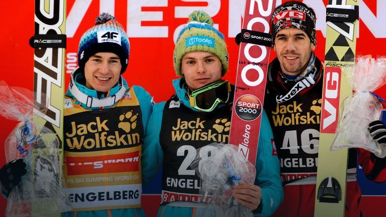 Od lewej: Kamil Stoch, Jan Ziobro, Anders Bardal