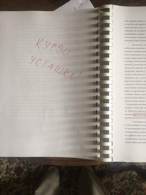Poruka upućena Aleksandri Jerkov