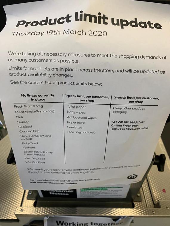 Limity zakupów w australijskich sklepach