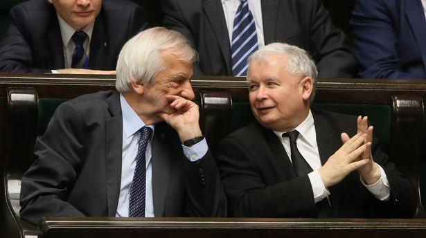 Wicemarszałek Sejmu Ryszard Terlecki i prezes PiS Jarosław Kaczyński podczas bloku porannych głosowań w Sejmie.