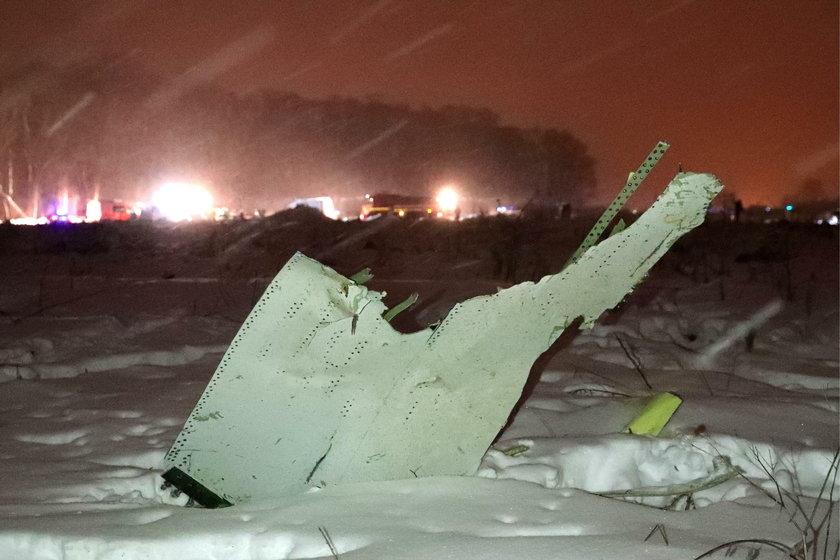 Szczątki rosyjskiego samolotu An-148
