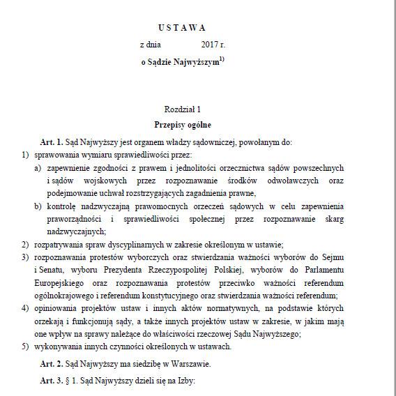 Projekt ustawy o SN