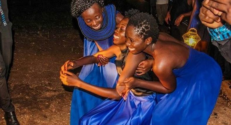 Akothee's daughters support their sister Celine who almost fainted on seeing her new gift
