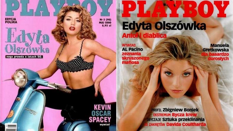 """Skuter, bujna fryzura i figlarna bielizna w kropki… Tak czytelnicy """"Playboya"""" zapamiętali odważną sesję Edyty Olszówki. Oto jak gwiazda serialu """"Aż po sufit"""" prezentowała się na okładkach męskiego magazynu"""