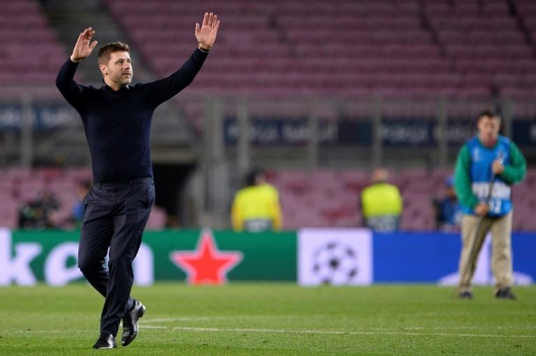 Tottenham coach Mauricio Pochettino could exhale and wave to the Tottenham fans at the Camp Nou after surviving in the Champions League