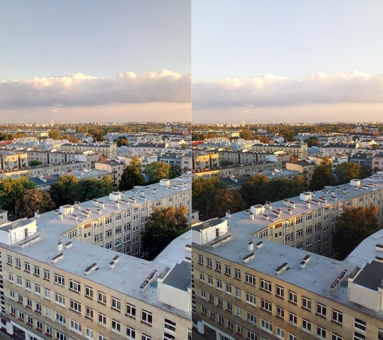 Zdjęcia zrobione aparatemw telefonie myPhone X Pro; po lewej w trybie HDR, po prawej w trybie normalnym
