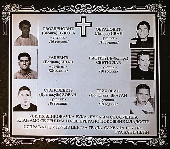 Nijedna od vlasti od 1998. godine nije okončala istragu o brutalnom ubistvu šestorice nevinih, mladih ljudi