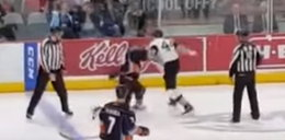 Brutalny nokaut na meczu hokeja