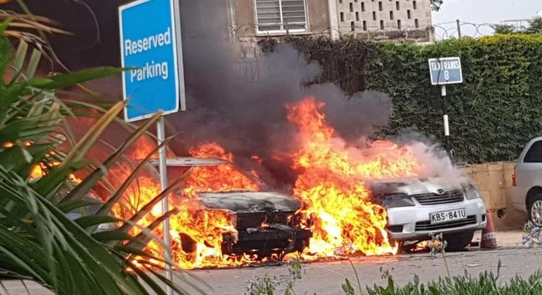 Vehicles that were set on fire during the DusitD2 attack