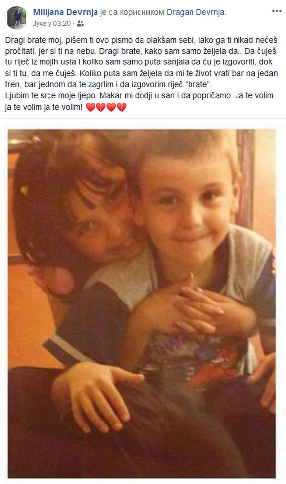 Sestra Milijana se oprostila od brata na društvenim mrežama