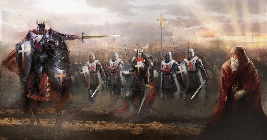 Templariusze idący do walki