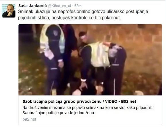 Poruka Jankovića o incidentu