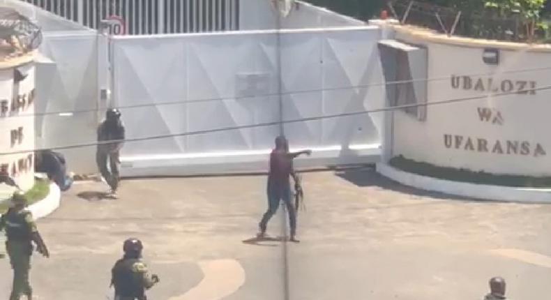 A gunman outside the French Embassy in Dar es Salaam