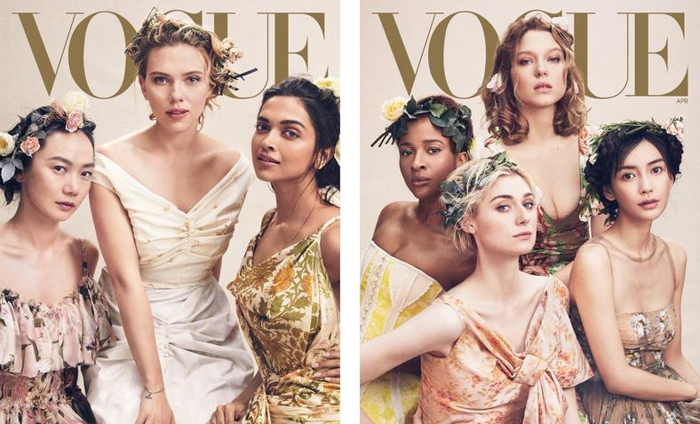 Vogue Magazine's April cover features Adesua Etomi, Scarelett Johansson and other Hollywood actresses. [Vogue Magazine]