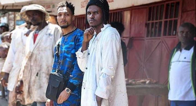 Alvindo and KRG the Don during 'Taka Taka' video shoot