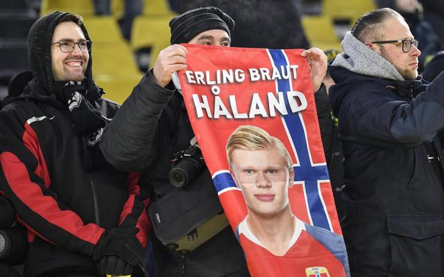 Erling Haland na zastavi navijača Norveške