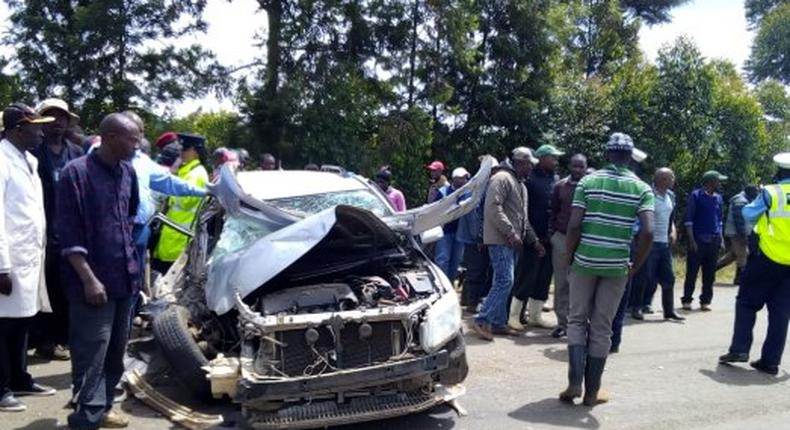 Scene of the accident in Muranga in which a boda boda rider was crashed to death
