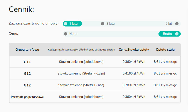 Polenergia - cennik z gwarancją ceny