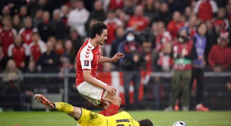 Austrian goalkeeper Daniel Bachman frustrated Thomas Delaney and Denmark for much of the match Creator: Liselotte Sabroe