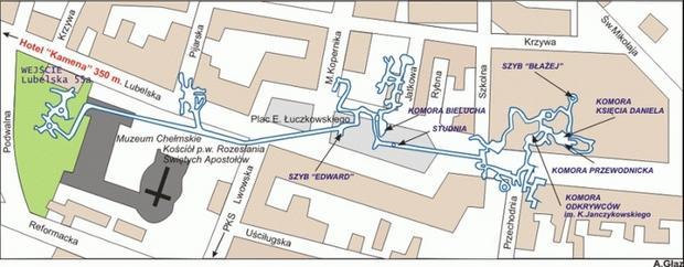 Podziemie kredowe w Chełmie, mapa