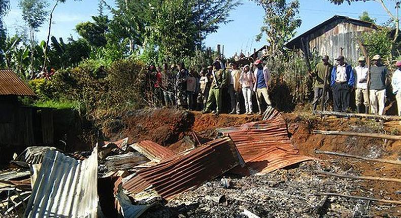 The house burnt down in Nyeri