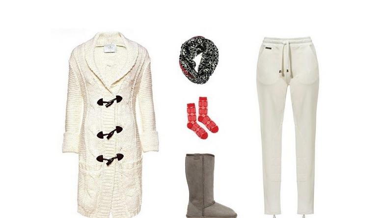 Domowy szyk: sweter oraz spodnie Fraternity/Royal Collection, szalik i skarpetki GAP, buty EMU Australia