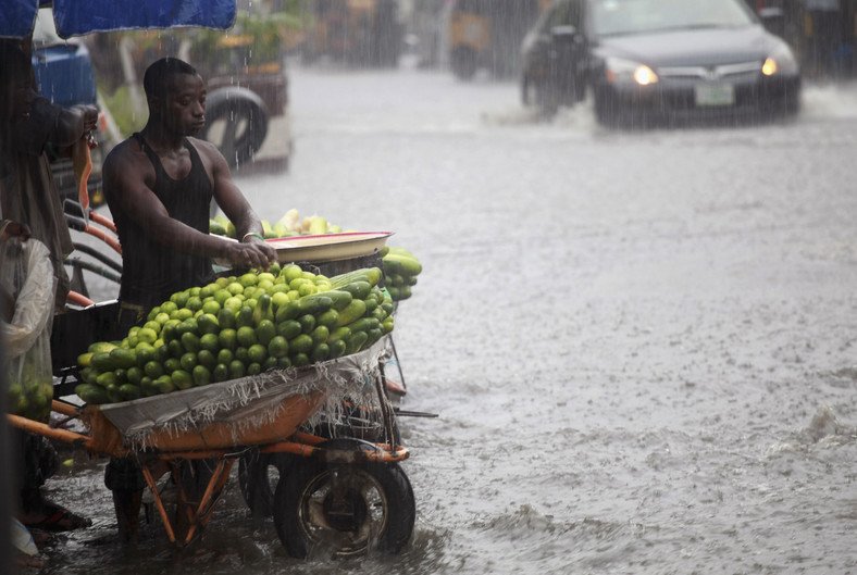 File Photo: A man arranges fruits in a wheelbarrow along a flooded street in Lagos, October 8, 2012. REUTERS/Akintunde Akinleye