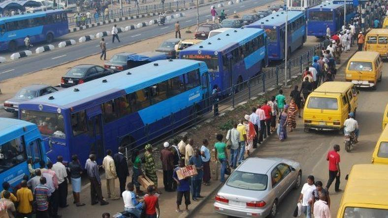BRT buses at a terminal  in Lagos