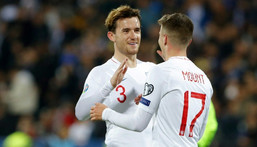 Isolated: Chelsea duo Mason Mount (right) and Ben Chilwell (left) will miss England's final Euro 2020 Group D match against the Czech Republic Creator: Armend NIMANI