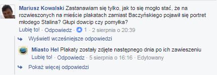 Komentarz jednego z użytkowników Facebooka