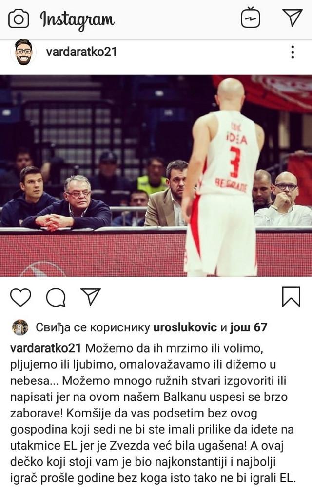 Objava Ratka Varde na Instagramu