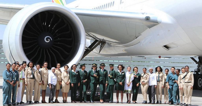 Ethiopian Airlines celebrateg the International Women's Day in grand style with a cabin crew and operations made up entirely of women