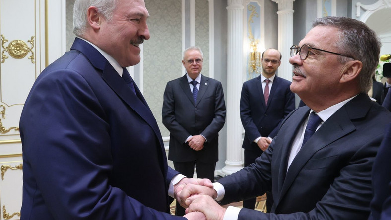 Alaksandr Łukaszenka i Rene Fasel