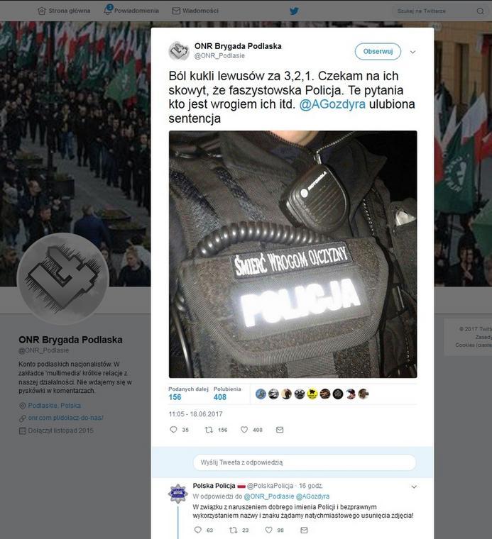Policja wezwała na Twitterze sprawców zamieszczenia zdjęcia do jego usunięcia