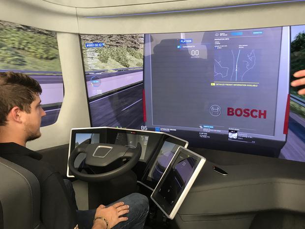 Dokowanie czyli łapanie elektronicznego dyszla autonomicznego konwoju ciężarówek